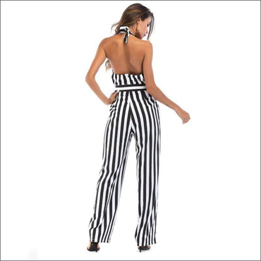 Elegant Stripes Pattern Halter Neck Wide-leg Jumpsuits - M /