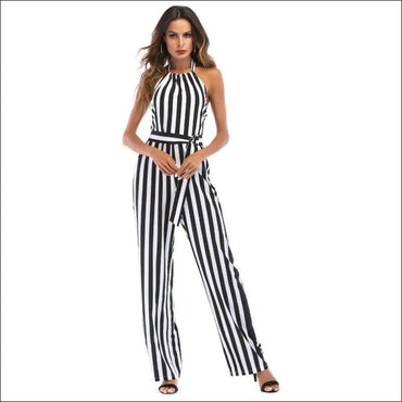 Elegant Stripes Pattern Halter Neck Wide-leg Jumpsuits - S /