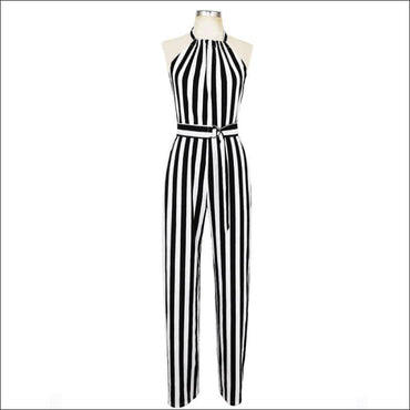 Elegant Stripes Pattern Halter Neck Wide-leg Jumpsuits - XL