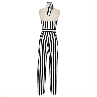 Elegant Stripes Pattern Halter Neck Wide-leg Jumpsuits - XXL