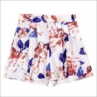 Floral Print Off-the-shoulder Chiffion Top Wide Leg Shorts