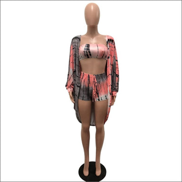 Graphic-Print Bra And Skinny Shorts And Long-sleeve Cloak Three Pieces Sets370x