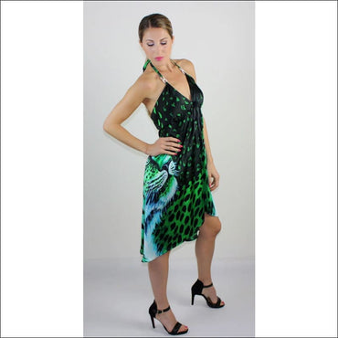 Green Tiger silk dress - Dresses