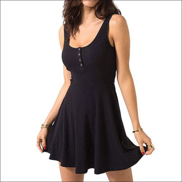 High Waist Mini Casual Nightdress - L / Black - Lingerie &