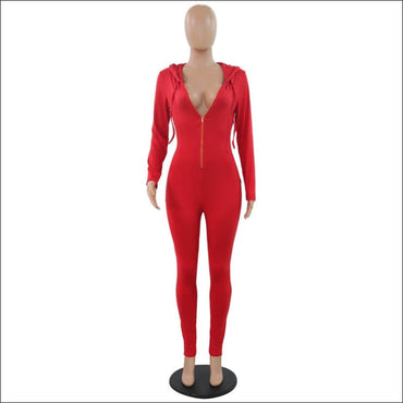 Hooded Zipper Long-sleeve Slim Jumpsuits - Jumpsuits