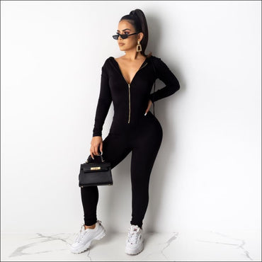 Hooded Zipper Long-sleeve Slim Jumpsuits - S / Black -