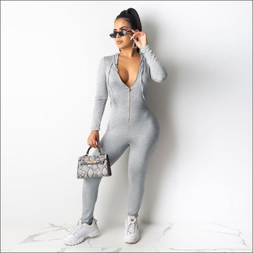 Hooded Zipper Long-sleeve Slim Jumpsuits - S / Grey -