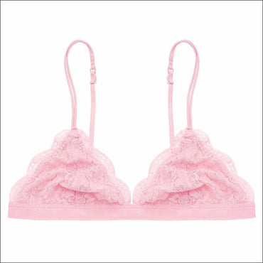 Lace Ultra-thin Triangle Solid Color Bralette - S / Pink -