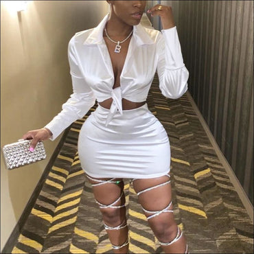 Lapel Knotted Long-sleeve Top And Bodycon Skirt Fashion Two-piece set370x