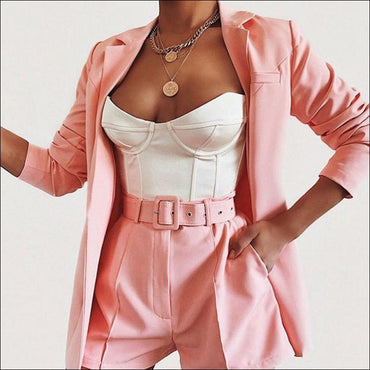 Lapel Long-sleeve Blazer Belt Decor High-waisted Shorts Suit