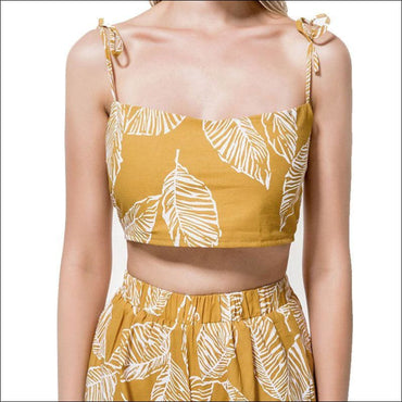 Leaf Print Crop Camisole And Wide Leg Shorts Set - L /