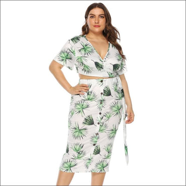 Leaf Print V-neck Lace-up Top And Single-breasted Bodycon