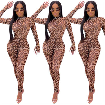 Leopard Mock Neck Long-sleeve Tight Jumpsuits - Jumpsuits