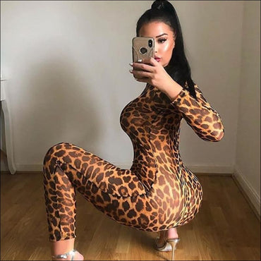 Leopard Mock Neck Long-sleeve Tight Jumpsuits - L / Leopard