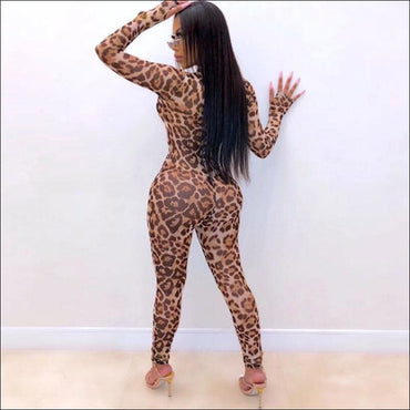 Leopard Mock Neck Long-sleeve Tight Jumpsuits - M / Leopard