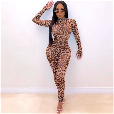 Leopard Mock Neck Long-sleeve Tight Jumpsuits - X / Leopard