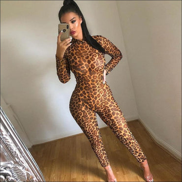 Leopard Mock Neck Long-sleeve Tight Jumpsuits - XS / Leopard