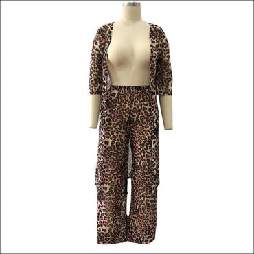 Leopard Print Cover Up Wide Leg Trousers Casual Two-piece
