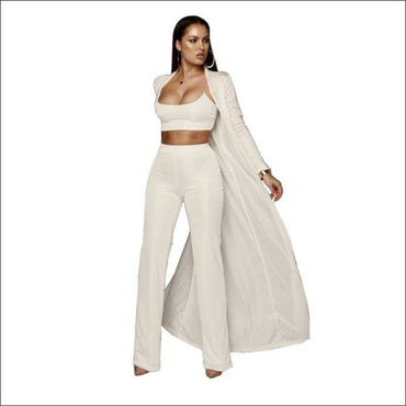 Long-sleeve Cardigan Cropped Camis Pants Three-piece Set370x