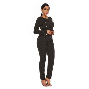 Long-sleeve Single-breasted Suit Set - S / Black - Sets