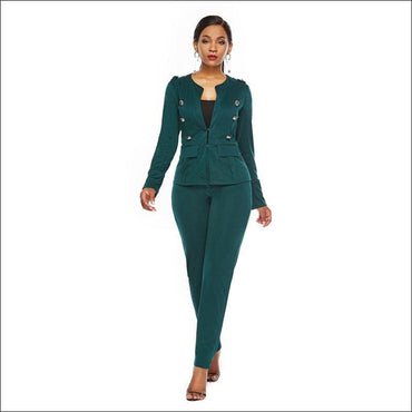 Long-sleeve Single-breasted Suit Set - S / D.Green - Sets