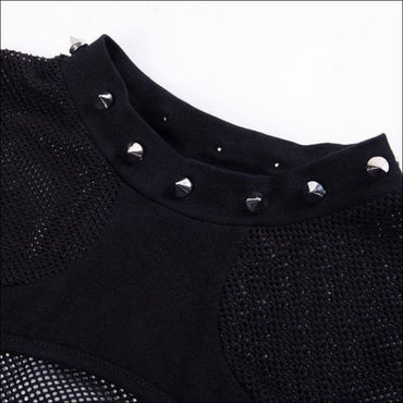 Mesh Hollow Stitching See-through Short-sleeve T-Shirt -