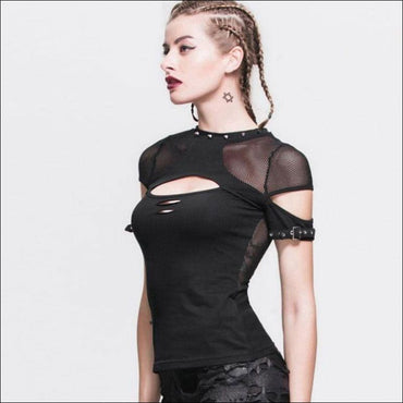 Mesh Hollow Stitching See-through Short-sleeve T-Shirt - S /