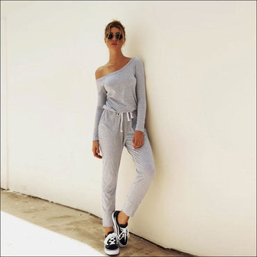 Oblique Shoulder Long Sleeve Lace-up Casual Jumpsuits -