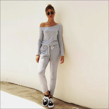 Oblique Shoulder Long Sleeve Lace-up Casual Jumpsuits - S /