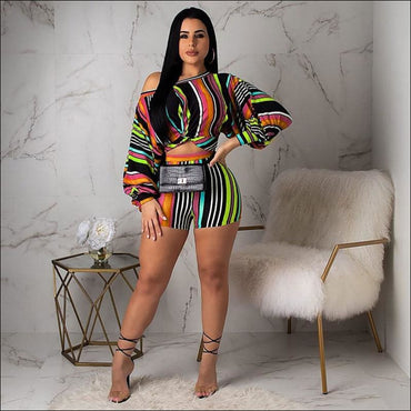 Off-shoulder Puff Sleeve Women Multicolor Stripes Print Cropped Top Tight Shorts Set370x