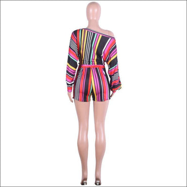 Off-shoulder Puff Sleeve Women Multicolor Stripes Print