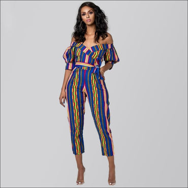 Off-the-Shoulder Lantern Sleeve Print Lace-up Jumpsuits -