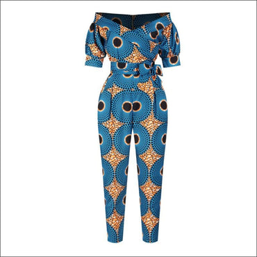 Off-the-Shoulder Lantern Sleeve Print Lace-up Jumpsuits - S
