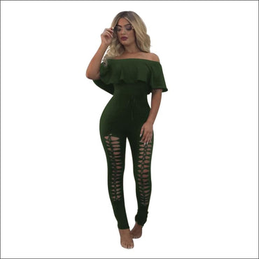 Off-the-Shoulder Ruffle Hollow Tight Jumpsuits370x