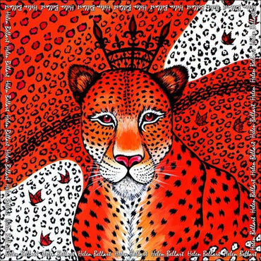Orange Leopard silk pareo 110x110 cm370x