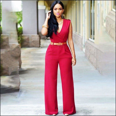Plain Pattern Sleeveless Wide-leg Wrapped Jumpsuits - S /