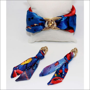 Poppy silk tie earring - Gold - Earrings