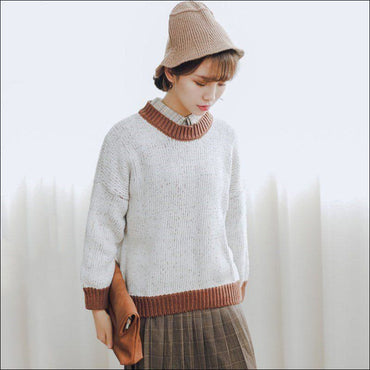 Round Collar Contrast Color Knitwear370x
