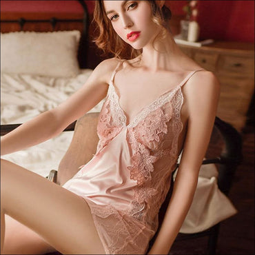 Satin Lace Sleep Dress And Panty Set370x