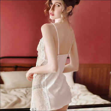 Satin Lace Sleep Dress And Panty Set - M / White - Lingerie