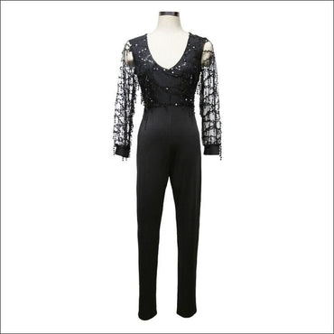See-through Mesh Long-sleeve Tassel Decor Sequin Party Jumpsuits370x