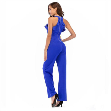Sleeveless Ruffled Halter Neck Jumpsuits - Jumpsuits