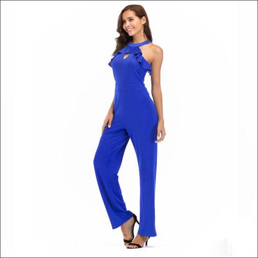 Sleeveless Ruffled Halter Neck Jumpsuits - S / Blue -