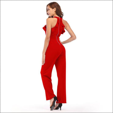 Sleeveless Ruffled Halter Neck Jumpsuits - S / Red -