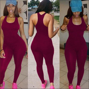 Sleeveless Tank Pattern Tight Jumpsuits - Jumpsuits