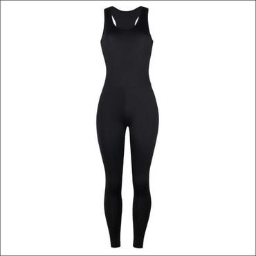 Sleeveless Tank Pattern Tight Jumpsuits - S / Black -