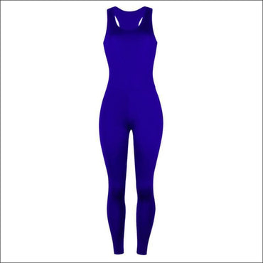 Sleeveless Tank Pattern Tight Jumpsuits - S / Blue -