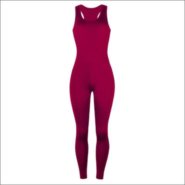 Sleeveless Tank Pattern Tight Jumpsuits - S / Burgundy -