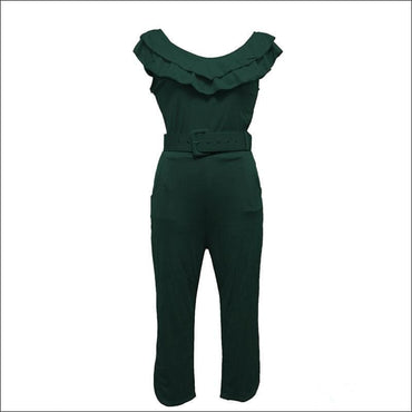 Slim Decorative Belt Round Collar Ruffled Jumpsuits370x
