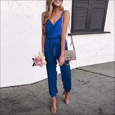 Spaghetti Strap Pure Color Jumpsuits - L / Royal Blue -